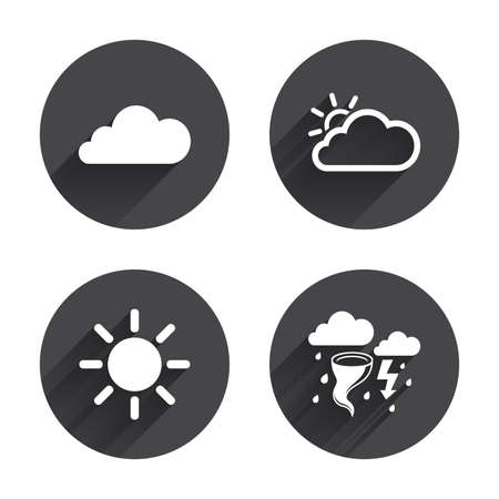 gale: Weather icons. Cloud and sun signs. Storm or thunderstorm with lightning symbol. Gale hurricane. Circles buttons with long flat shadow. Vector Illustration
