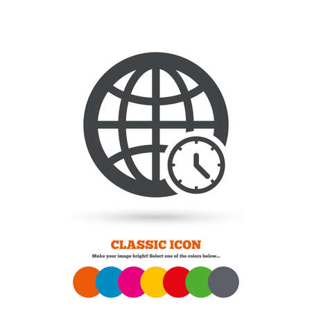 World time sign icon. Universal time globe symbol. Classic flat icon. Colored circles. Vector Stock Vector - 44000380