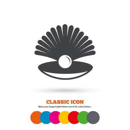 conch shell: Sea shell with pearl sign icon. Conch symbol. Travel icon. Classic flat icon. Colored circles. Vector Illustration