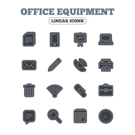 computer printer: Office equipment icons. Computer, printer and smartphone. Wi-fi, chat speech bubble and copy documents. Presentation board, paperclip with pencil and magnifying glass. Line icon with black border. Vector Illustration