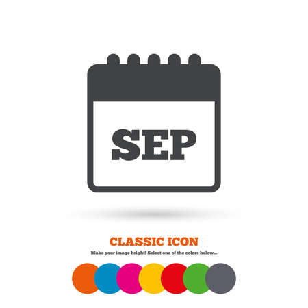sep: Calendar sign icon. September month symbol. Classic flat icon. Colored circles. Vector