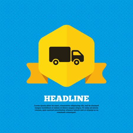 cargo van: Delivery truck sign icon. Cargo van symbol. Yellow label tag. Circles seamless pattern on back. Vector