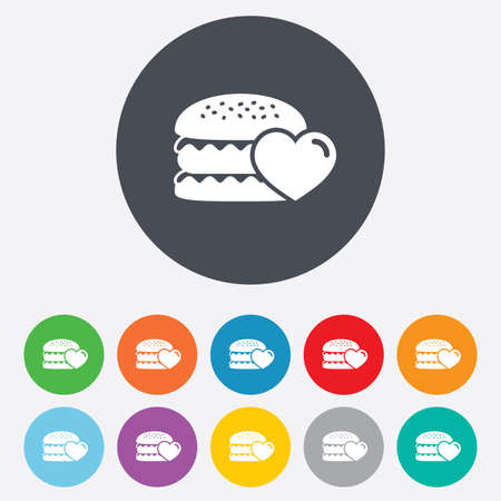 11: Hamburger icon. Burger food symbol. Cheeseburger sandwich sign. Round colourful 11 buttons. Vector Illustration