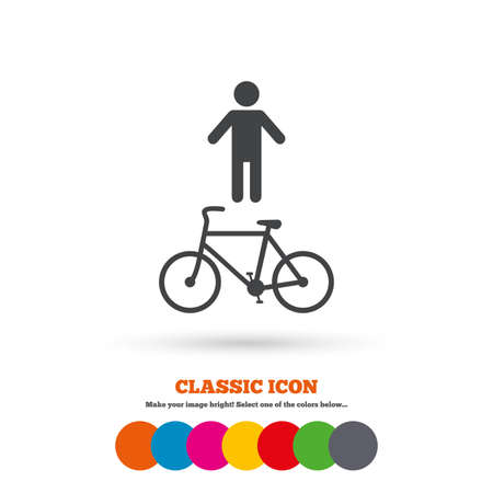 pedestrian: Bicycle and pedestrian trail sign icon. Cycle path symbol. Classic flat icon. Colored circles. Vector Illustration