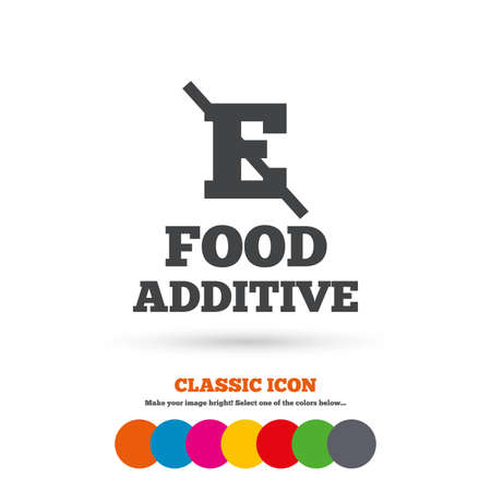 preservatives: Food additive sign icon. Without E symbol. Healthy natural food. Classic flat icon. Colored circles. Vector