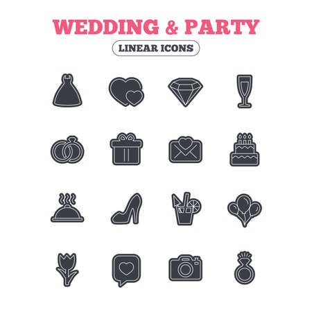 diamond candle: Wedding and party icons. Dress, diamond and rings. Gift box, invitatiom letter and rose flower. Speech bubble with heart and photo camera. Line icon with black border. Vector