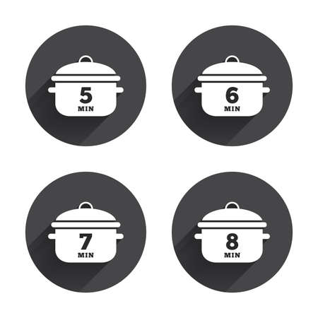 5 6: Cooking pan icons. Boil 5, 6, 7 and 8 minutes signs. Stew food symbol. Circles buttons with long flat shadow. Vector