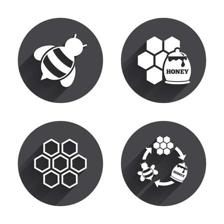 fruttosio: Icona miele. Celle a nido d'ape con api simbolo. Dolci segni alimentari naturali. Circles pulsanti con lunga ombra piatta. Vettore