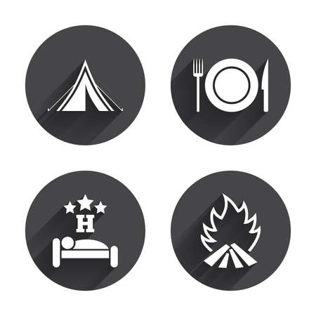 breakfast in bed: Food, sleep, camping tent and fire icons. Knife, fork and dish. Hotel or bed and breakfast. Road signs. Circles buttons with long flat shadow. Vector Illustration