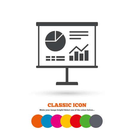 ppt: Presentation billboard sign icon. Scheme and Diagram symbol. Classic flat icon. Colored circles. Vector