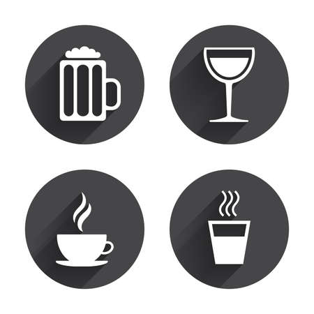 Drinks icons. Coffee cup and glass of beer symbols. Wine glass sign. Circles buttons with long flat shadow. Vector Illustration