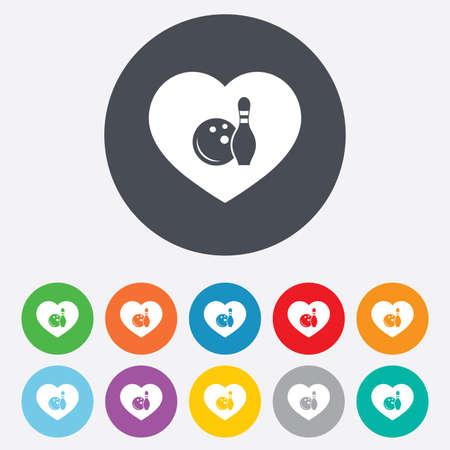 kegelen: Werpend spel teken icoon. Bal met pin skittle symbool. Ronde kleurrijke 11 knoppen. Vector Stock Illustratie
