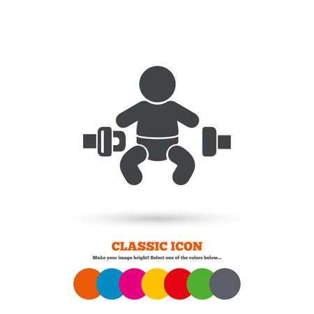 child safety: Fasten seat belt sign icon. Child safety in accident. Classic flat icon. Colored circles. Vector Illustration