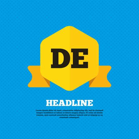 deutschland: German language sign icon. DE Deutschland translation symbol. Yellow label tag. Circles seamless pattern on back. Vector