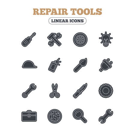 electric circuit: Repair tools icons. Hammer with wrench key, wheel and brush. Screwdriver, electric plug and scissors. Circuit board, magnifying glass and construction helmet. Line icon with black border. Vector Illustration