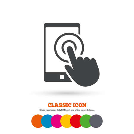 flat screen: Touch screen smartphone sign icon. Hand pointer symbol. Classic flat icon. Colored circles. Vector