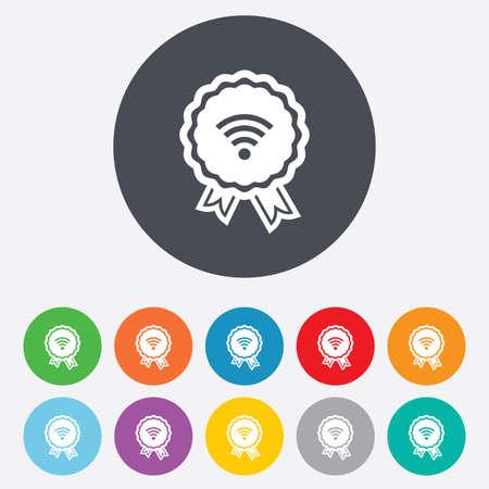 wireless network: Premio Wifi se�al. Wi-fi s�mbolo medalla. Icono de red inal�mbrica. Zona Wifi. Ronda de colores de 11 botones. Vector Vectores