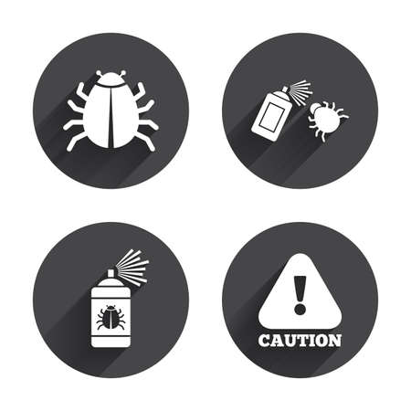 insanitary: Bug disinfection icons. Caution attention symbol. Insect fumigation spray sign. Circles buttons with long flat shadow. Vector