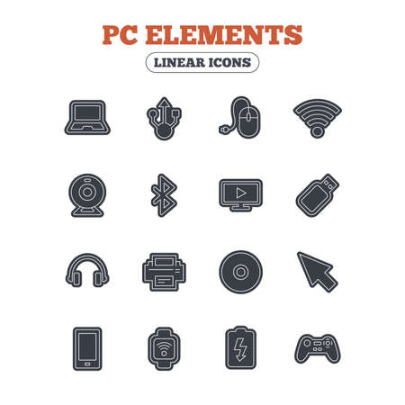usb port: Computer elements icons. Notebook, usb port and smartphone. Printer, smart watch and game console joystick. Bluetooth, flash stick and cursor pointer. Line icon with black border. Vector