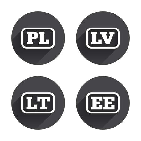 lt: Language icons. PL, LV, LT and EE translation symbols. Poland, Latvia, Lithuania and Estonia languages. Circles buttons with long flat shadow. Vector Illustration