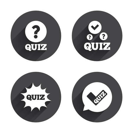 white check mark sign: Quiz icons. Speech bubble with check mark symbol. Explosion boom sign. Circles buttons with long flat shadow. Vector