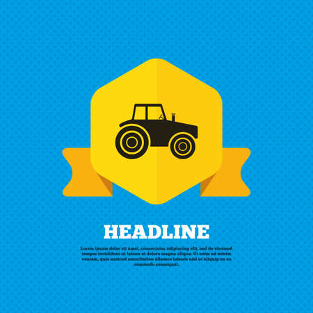 agriculture industry: Tractor sign icon. Agricultural industry symbol. Yellow label tag. Circles seamless pattern on back. Vector Illustration
