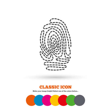 fingermark: Fingerprint sign icon. Identification or authentication symbol. Classic flat icon. Colored circles. Vector