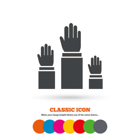 hands up: Election or voting sign icon. Hands raised up symbol. People referendum. Classic flat icon. Colored circles. Vector