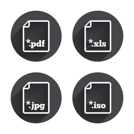 extensions: Download document icons. File extensions symbols. PDF, XLS, JPG and ISO virtual drive signs. Circles buttons with long flat shadow. Vector