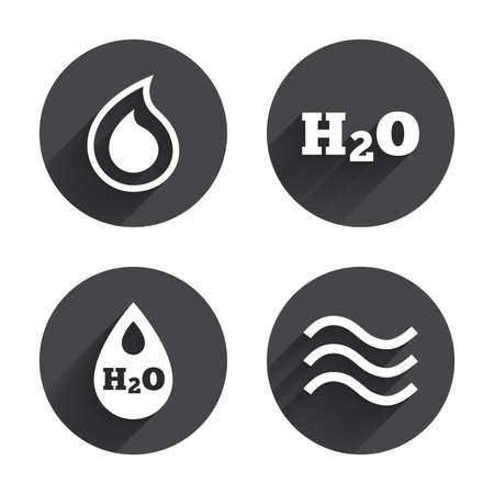 tear drop: H2O Water drop icons. Tear or Oil drop symbols. Circles buttons with long flat shadow. Vector Illustration