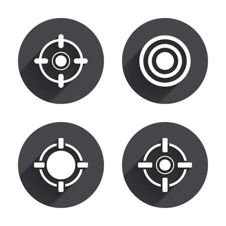 long range: Crosshair icons. Target aim signs symbols. Weapon gun sights for shooting range. Circles buttons with long flat shadow. Vector
