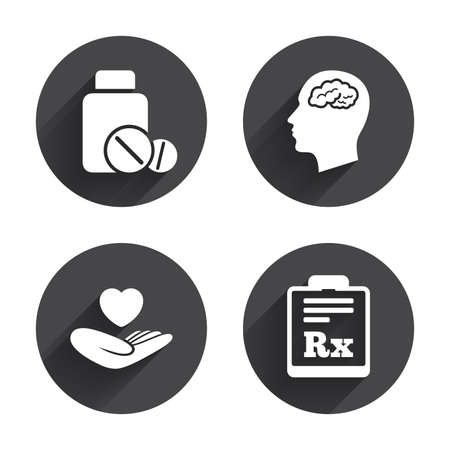 rx: Medicine icons. Medical tablets bottle, head with brain, prescription Rx signs. Pharmacy or medicine symbol. Hand holds heart. Circles buttons with long flat shadow. Vector Illustration