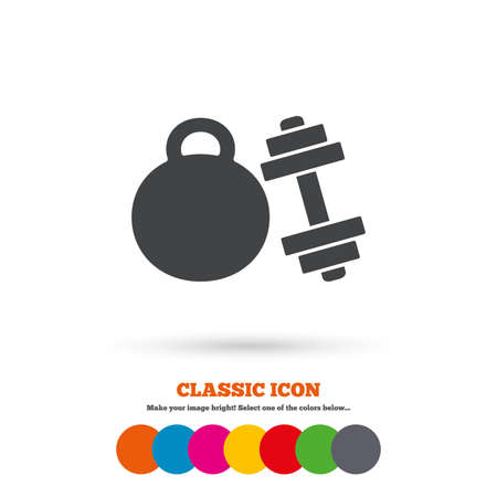 workout gym: Dumbbell with kettlebell sign icon. Fitness sport symbol. Gym workout equipment. Classic flat icon. Colored circles. Vector
