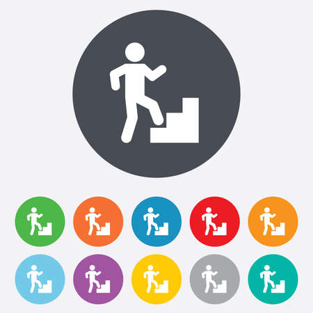 upstairs: Upstairs icon. Human walking on ladder sign. Round colourful 11 buttons. Vector