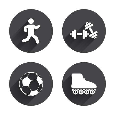 icon buttons: Football ball, Roller skates, Running icons. Fitness sport symbols. Gym workout equipment. Circles buttons with long flat shadow. Vector Illustration