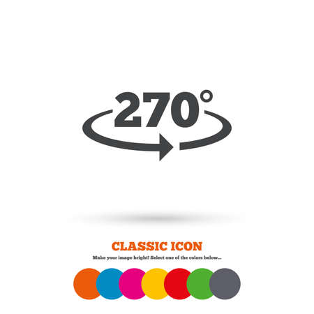 math icon: Angle 270 degrees sign icon. Geometry math symbol. Classic flat icon. Colored circles. Vector Illustration