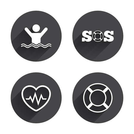 drowns: SOS lifebuoy icon. Heartbeat cardiogram symbol. Swimming sign. Man drowns. Circles buttons with long flat shadow. Vector