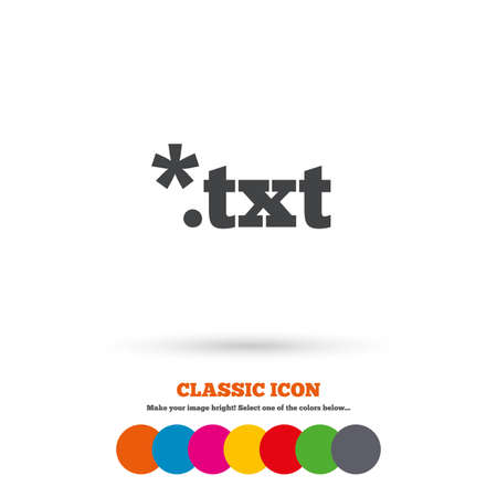 txt: Text file icon. Download txt doc button. Txt file extension symbol. Classic flat icon. Colored circles. Vector