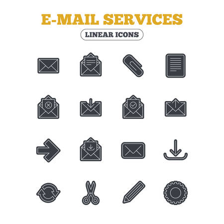 envelope icon: Mail services icons. Send mail, paper clip and download arrow symbols. Scissors, pencil and refresh thin outline signs. Receive, select and delete mail. Line icon with black border. Vector Illustration