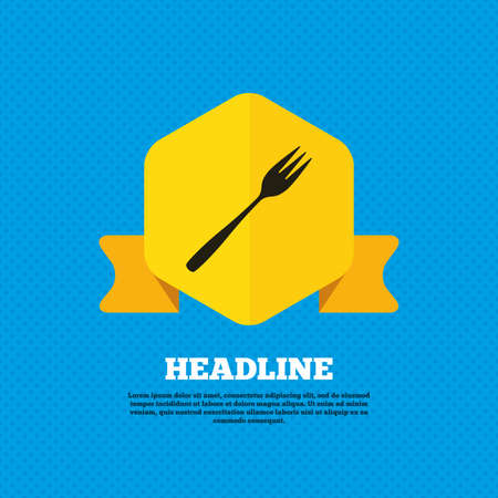 Eat sign icon. Cutlery symbol. Diagonal dessert trident fork. Yellow label tag. Circles seamless pattern on back. Vector