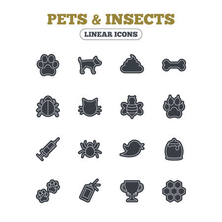 feces: Pets and Insects icons. Dog paw. Cat paw with clutches. Bone, feces excrement and vaccination. Honey, bee and honey comb. Line icon with black border. Vector Illustration