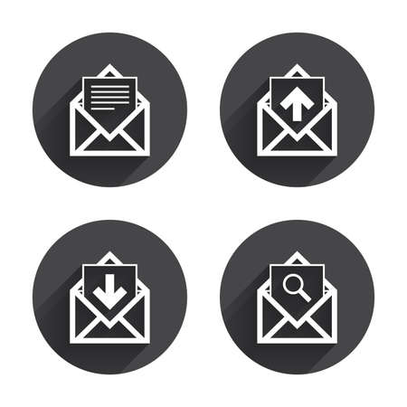 outbox: Mail envelope icons. Find message document symbol. Post office letter signs. Inbox and outbox message icons. Circles buttons with long flat shadow. Vector