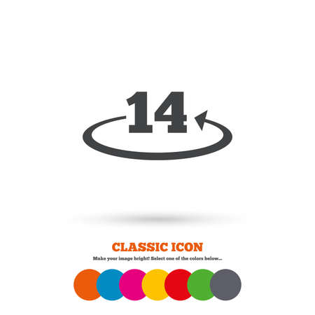 Return of goods within 14 days sign icon. Warranty exchange symbol. Classic flat icon. Colored circles. Vector
