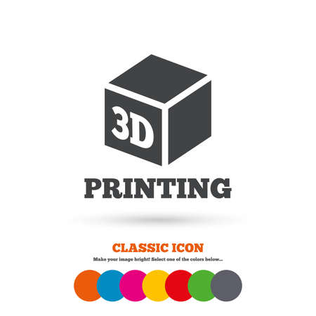 additive manufacturing: 3D Print sign icon. 3d cube Printing symbol. Additive manufacturing. Classic flat icon. Colored circles. Vector Illustration