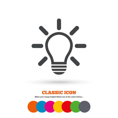 idea symbol: Light lamp sign icon. Idea symbol. Light is on. Classic flat icon. Colored circles. Vector