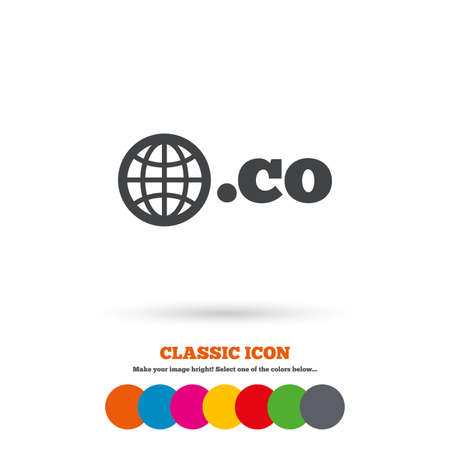 co: Domain CO sign icon. Top-level internet domain symbol with globe. Classic flat icon. Colored circles. Vector