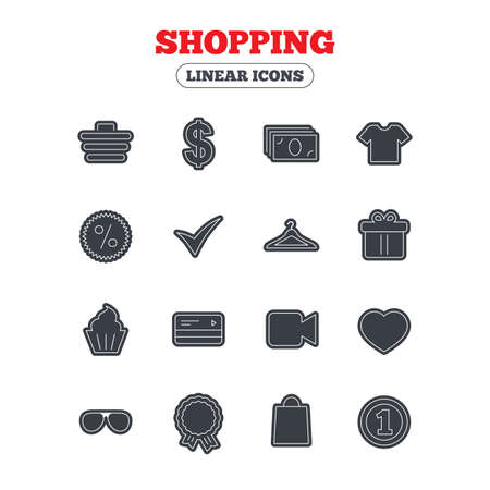 shirt hanger: Shopping icons. Shopping cart, dollar currency and cash money. Shirt clothes, gift box and hanger. Credit or debit card. Line icon with black border. Vector