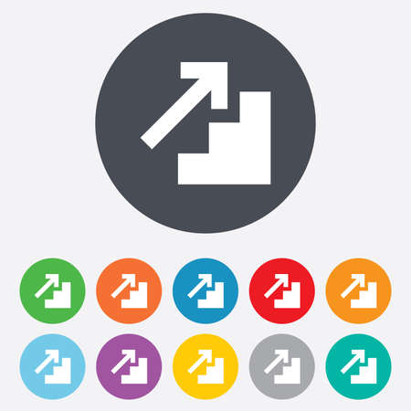 11: Upstairs icon. Up arrow sign. Round colourful 11 buttons. Vector Illustration