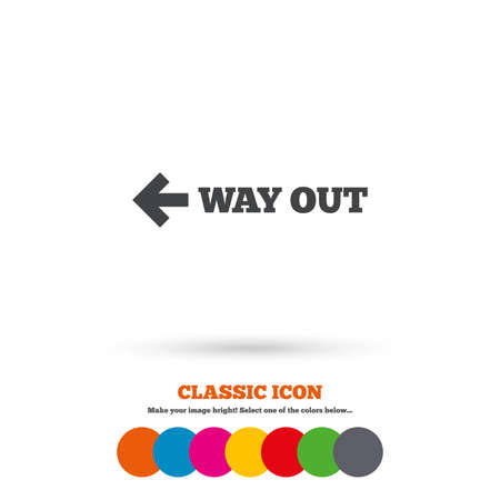 escape route: Way out left sign icon. Arrow symbol. Classic flat icon. Colored circles. Vector