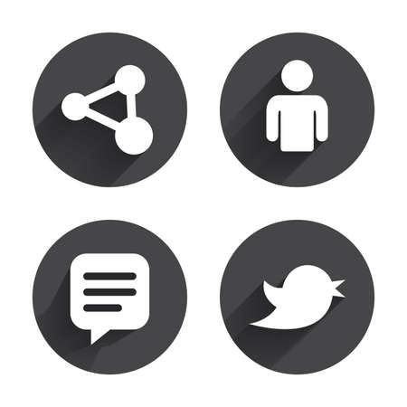 chat icon: Human person and share icons. Speech bubble symbols. Communication signs. Circles buttons with long flat shadow. Vector Illustration